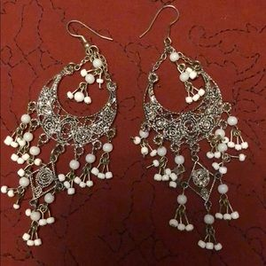 Jewelry - Chandelier Earrings filigreed with off-white beads